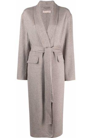 12 STOREEZ Shawl-lapel tied-waist coat