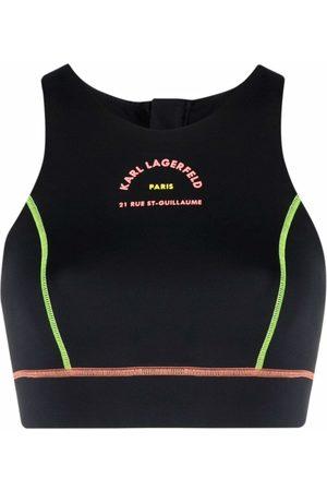 Karl Lagerfeld Contrast-stitch sports bra