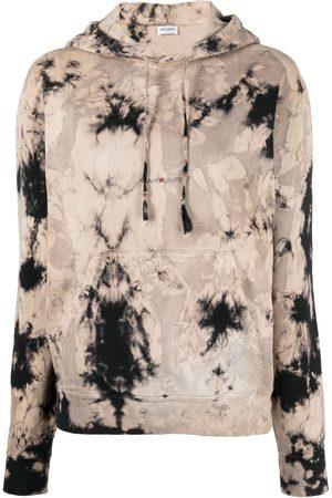 Saint Laurent Tie-dye logo-print hoodie