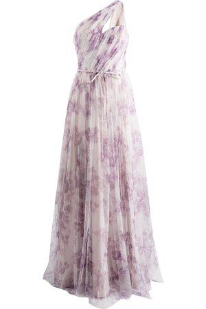 Marchesa Notte Senhora Vestidos de Festa - Floral-print one-shoulder gown