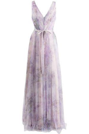 Marchesa Notte Sora floral-print tulle dress
