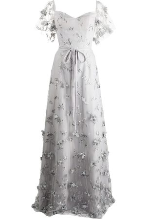 Marchesa Notte Portici floral-embroidered dress