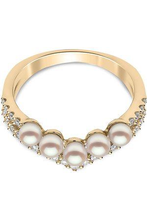 Yoko London 18kt yellow Sleek Akoya pearl and diamond ring
