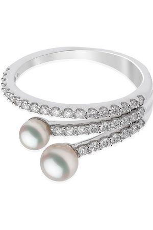 Yoko London 18kt white gold Sleek Akoya pearl diamond ring