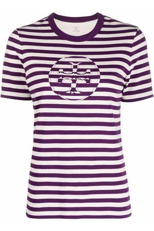 Tory Burch Striped logo-print T-shirt