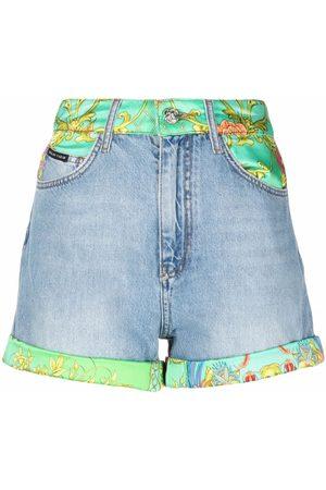 Philipp Plein New Baroque-print panelled denim shorts