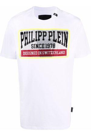 Philipp Plein Homem T-shirts & Manga Curta - Logo-print cotton T-shirt