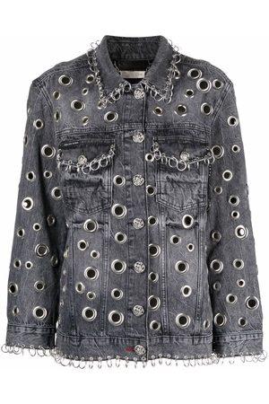 Philipp Plein Ring-detail denim jacket