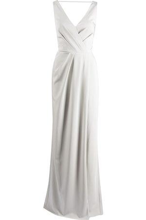 Marchesa Notte Cowl-detail floor-length gown
