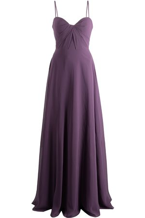 Marchesa Notte Twist-detail floor-length dress