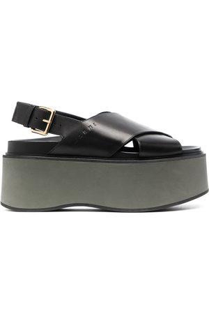 Marni Senhora Sandálias de cunha - Criss-cross wedge sandals