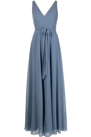Marchesa Notte V-neck sash belt sleeveless gown