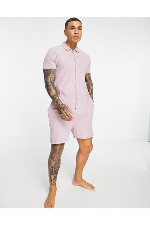 ASOS DESIGN Lounge waffle short all in one in purple