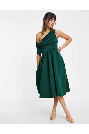 ASOS Bare shoulder prom midi dress in forest green