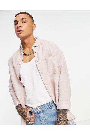 ASOS 90s oversized linen shirt in pink