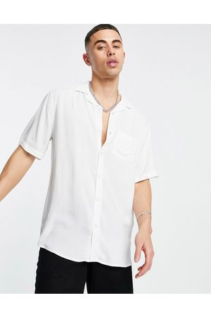 Only & Sons Revere collar shirt in viscose white
