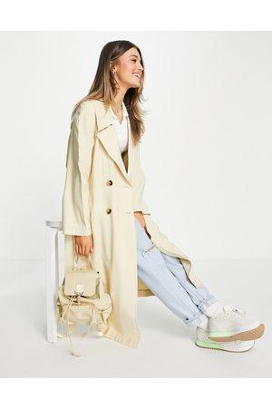 ASOS Senhora Gabardinas - Oversized trench coat in cream-White