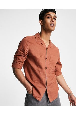 ASOS Regular fit linen shirt with revere collar and rolled sleeves in brown