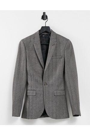 ASOS Super skinny wool look blazer in grey tweed