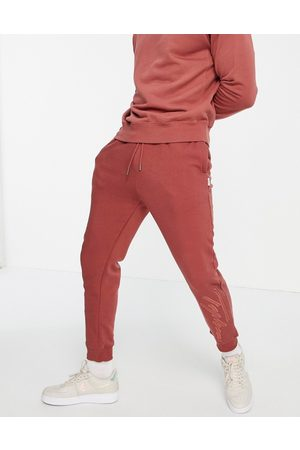 Topman Homem Joggers - Co-ord Signature embroidered jogger in burgundy