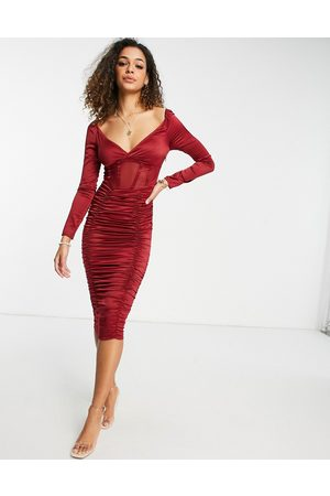 ASOS Satin ruched midi dress with mesh corset detail in berry-Purple