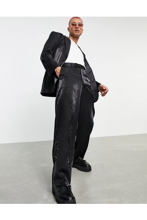 ASOS Wide suit trousers in black high shine fabric
