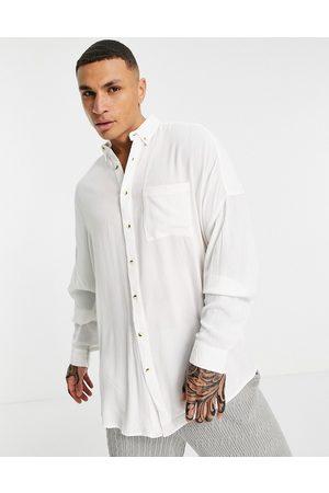 ASOS Oversized crinkle viscose shirt in white