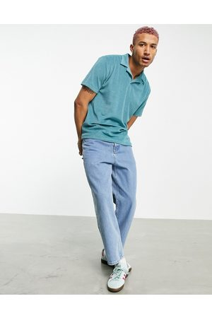 ASOS Relaxed polo with revere collar in blue towelling