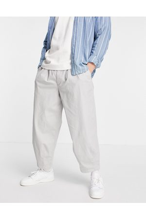 ASOS Wide crop chino trousers in light grey