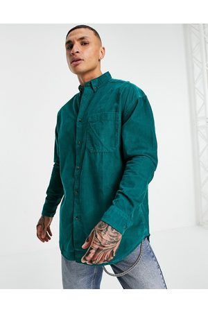 ASOS Oversized cord shirt in teal-Green