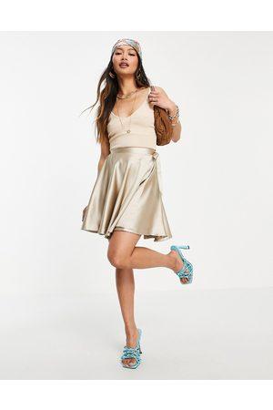Flounce London Satin mini wrap skirt co-ord in champagne-White
