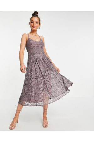 ASOS DESIGN Cami strap midi prom dress in lace with circle trims in Dusty Mauve-Purple
