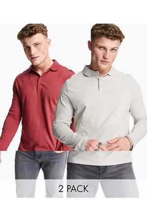 ASOS Homem Manga comprida - 2pack organic long sleeve jersey polo-Multi