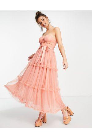Forever U Senhora Vestidos de Festa - Sweetheart bardot midaxi dress in peach-Orange