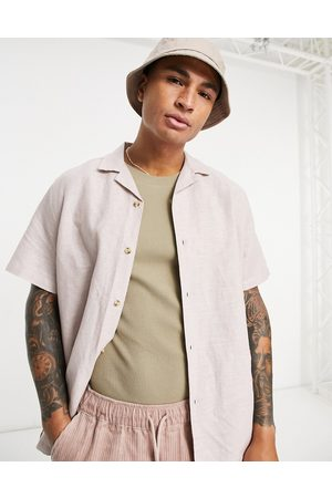 ASOS Homem Casual - Relaxed fit linen shirt with revere collar in pink