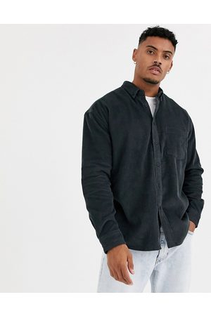 ASOS DESIGN 90s oversized cord shirt in washed black-Grey