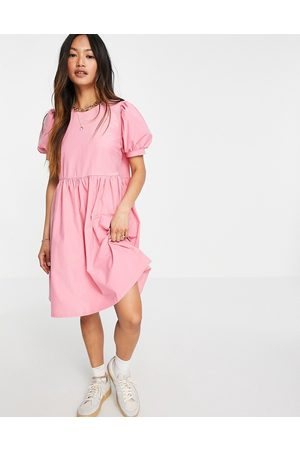 VILA Smock dress with puff sleeve in pink