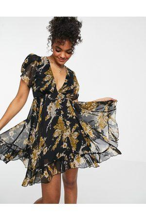 ASOS Button through mini dress in black vintage floral print-Multi