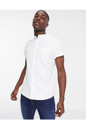 ASOS Slim fit oxford shirt with grandad collar in white