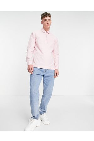 ASOS Overhead washed poplin rugby shirt in pink
