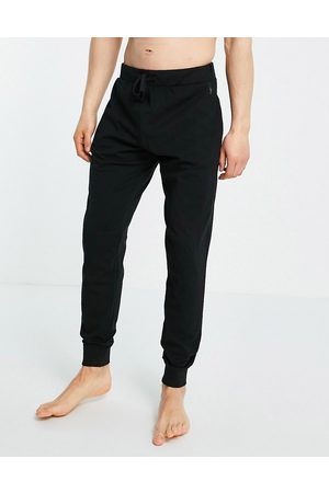 French Connection Jersey lounge joggers in black and gunmetal