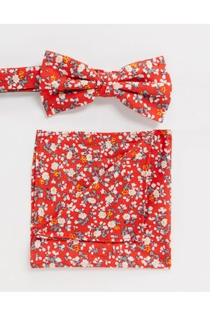 Ben Sherman Bow tie and pocket square set-Red