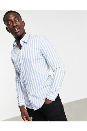 Devils Advocate Striped slim fit shirt-Blue
