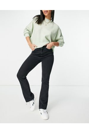 ASOS High rise '70's' stretch flare jeans in washed black