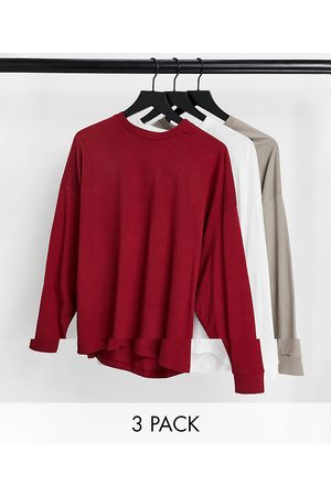 ASOS Homem Sweatshirts de Manga larga - 3 pack oversized long sleeve t-shirt-Multi