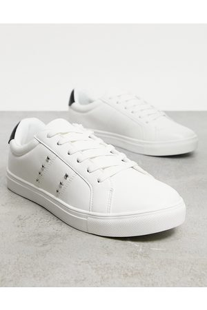 Brave Soul Flatform studded lace up trainers in white