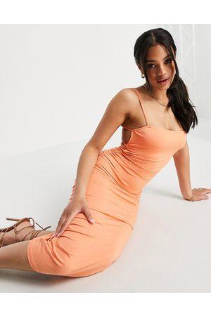 ASOS Square neck ruched double strap back midi dress in tangerine-Orange