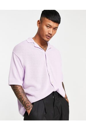 ASOS Knitted midweight button through polo in lilac-Purple