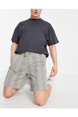 River Island Homem Calções - Check pull on shorts in brown