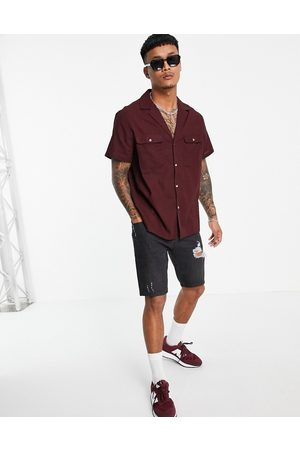 ASOS Textured shirt with deep revere in chocolate-Brown